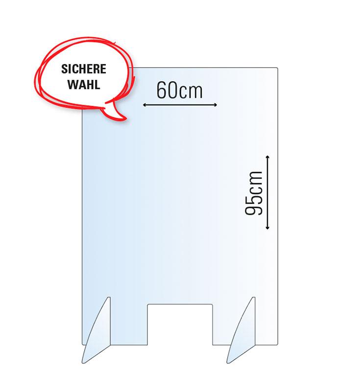 Schutzwand / Hygienewand / Spuckschutz Wahl / 60x95cm