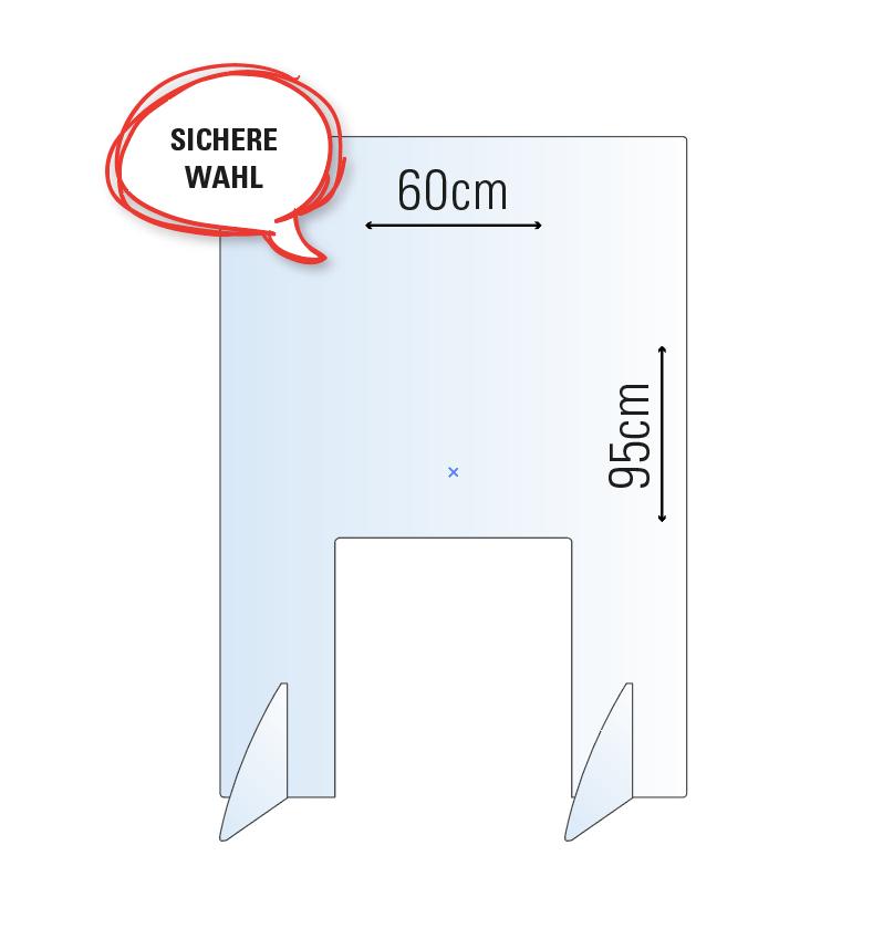 Schutzwand / Hygienewand / Spuckschutz für Wahlurne / 60x95cm