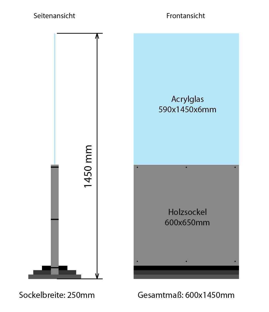 Trennwand / Schutzwand / Raumtrenner 650x1450mm