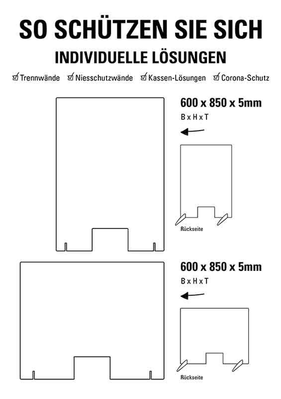 Schutzwand / Hygienewand / Spuckschutz 100x75cm